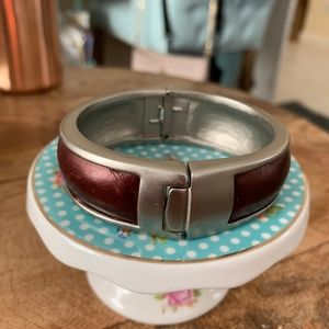 Hinged Nine west silver finish bangle
